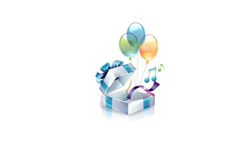 dárek s balónky