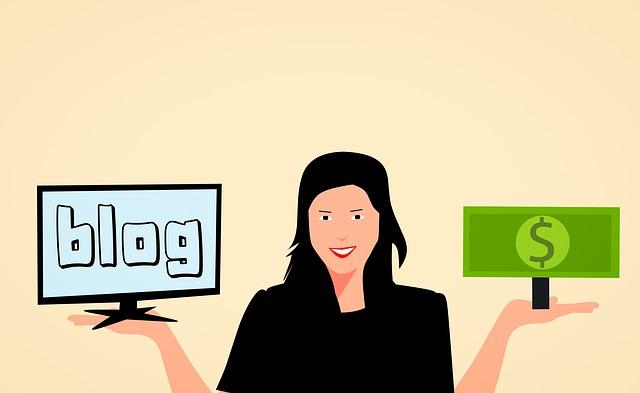 žena vyvažující svůj blog a peníze